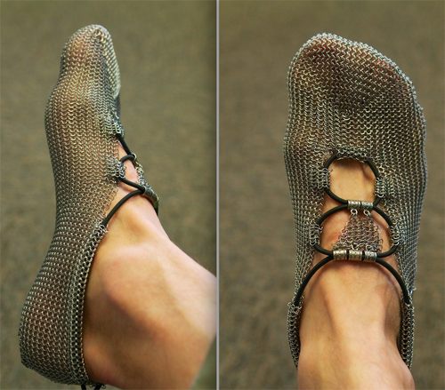 Stainless-steel mesh (chainmail) shoes by Germany s Gost