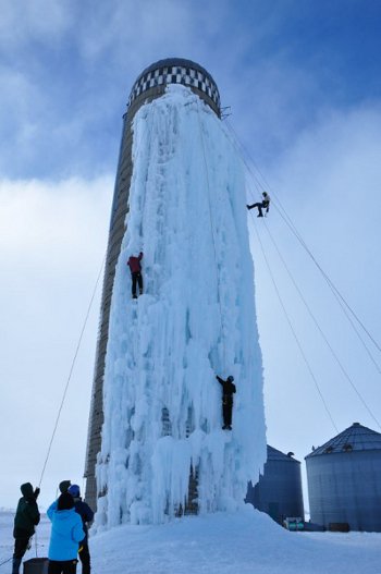 Agricultural Alpinism Grain Silo In Iowa Converted To Ice