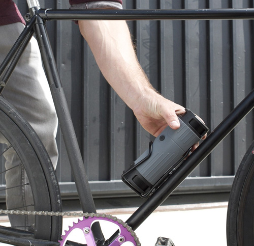 Speaker fits in Bike water bottle cage (lets you pump tunes