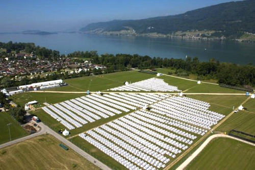 & Village of 3000 Tents at Swiss Festival (partially destroyed by storm)
