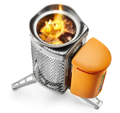 Stove Burns Wood Charges Usb Powered Gadgets On Side