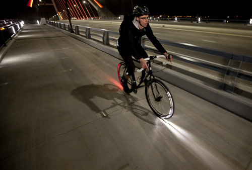 Bicycle riding with the Revolights
