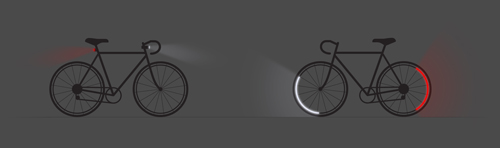 Bicycle wheel with the Revolights