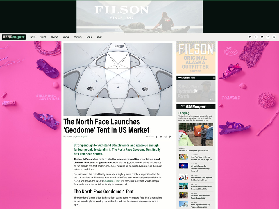 GearJunkie Display Media - Siteskin